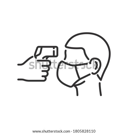 Body temperature check use gun scanner digital thermometer or contactless infrared thermometer for covid-19 outbreak. Illustration showing body temperature check icon. vector in white background.EPS10
