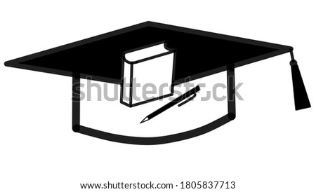 Graduation hat pen and book black and white clip art image.