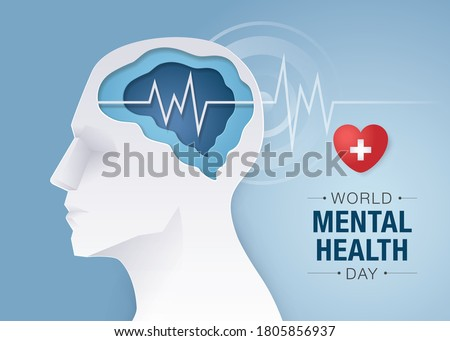 World mental health day, Human head with Brain and mental health, Encephalography brain, epilepsy and awareness, seizure disorder, Mental health awareness concept, paper art vector #1805856937