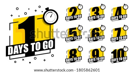 Countdown of days 1,2,3,4,5,6,7,8,9,10. The days left badges. A countdown is going on, one day I left a badge and a label to calculate the date of work. Offer timer, sticker limited to a few days. #1805862601