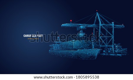 Digital polygonal cargo sea port. 3d ship, port crane and containers in dark blue. Container ships, transportation, logistics, business or worldwide shipping concept. Abstract vector mesh illustration Royalty-Free Stock Photo #1805895538