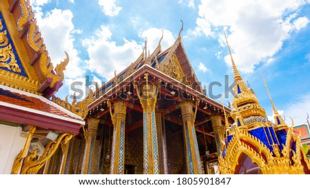 Temple of the Emerald Buddha or Wat Phra Kaew, Phra Aram Luang, special class Temple in the grand palace  ,Major attractions landmark of Bangkok #1805901847