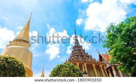 Temple of the Emerald Buddha or Wat Phra Kaew, Phra Aram Luang, special class Temple in the grand palace  ,Major attractions landmark of Bangkok #1805901850