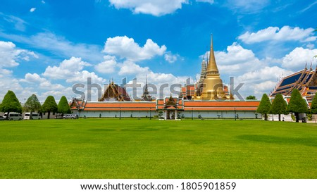 Temple of the Emerald Buddha or Wat Phra Kaew, Phra Aram Luang, special class Temple in the grand palace  ,Major attractions landmark of Bangkok #1805901859