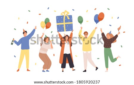 Group of happy people raising hands celebrating holiday with colorful confetti vector flat illustration. Woman hold gift box having fun with friends isolated. Person with balloons and champagne Royalty-Free Stock Photo #1805920237