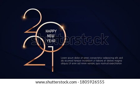 Happy new 2021 year! Elegant gold text with light. Minimalistic text template. #1805926555
