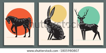 Abstract poster collection with animals: horse, hare, deer. Set of contemporary scandinavian art print templates. Ink animals with floral ornament and geometrical shapes on the background.