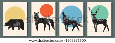 Abstract poster collection with animals: bear, fox, wolf, deer. Set of contemporary scandinavian art print templates. Ink animals with floral ornament and geometrical shapes on the background.  #1805981500