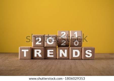 2021 trends, wooden block with text. Royalty-Free Stock Photo #1806029353