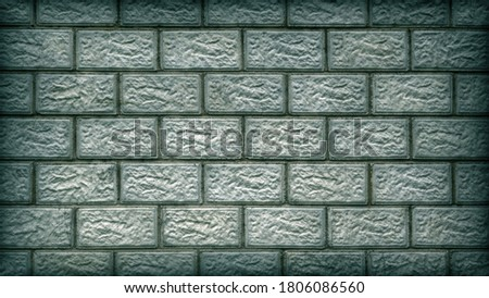 The wall of the building is made of concrete blocks. Aged blue and green tinted background or wallpaper with vignetting. Masonry pattern. Dark dramatic backdrop on the theme of housing construction