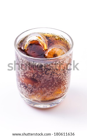 Cola in glass on isolated white background #180611636