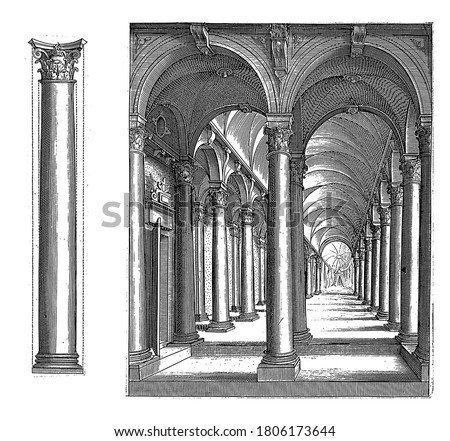 Column of the Corinthian order and a portico, Column of the Corinthian order and a portico with columns of the Corinthian building order, vintage engraving. #1806173644
