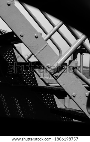 Detailed picture of some stairs on a ferry in the archipelago in Sweden, beautiful black and white photography.
