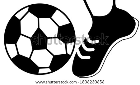 Foot ball soccer ball player sport black and white clip art image.