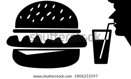 Fast food burger and drink silhouette clip art image.