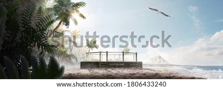MMA octagon. Fight island. Fighting Championship. Location of the MMA tournament on the fight island. Octagon on the sand. Panorama Royalty-Free Stock Photo #1806433240