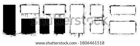 Grunge stencil frames with spray painted frame, grunge splatter and stencils border. Texture dirty artistic design elements, boxes, frames for text. Grunge graffiti frame, rectangles and squares.  #1806461518