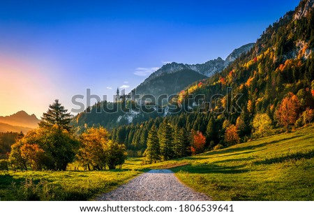Mountain road in autumn morning. Autumn road mountain castle. Mountain castle road in autumn. Autumn mountain road landscape #1806539641