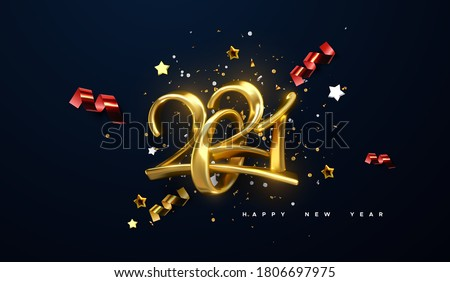 Jewelry 2021 numbers. Happy New 2021 Year. Holiday vector illustration of golden calligraphic characters, ribbons, stars and confetti . Realistic 3d sign. Festive poster or banner design. #1806697975