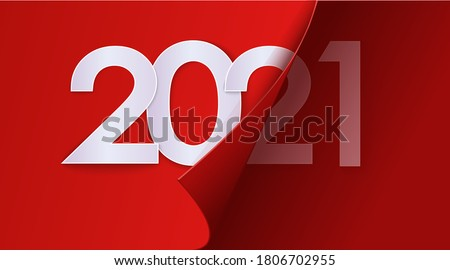 Happy New Year 2021 winter holiday greeting card design template. End of 2020 and beginning of 2021. The concept of the beginning of the New Year. The calendar page turns over and the new year begins. #1806702955