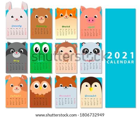 Calendar 2021. Cute monthly calendar with animals