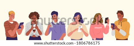Young People Looking on Smartphones and Chatting. Happy Boys and Girls talking and typing on Phone. Female and Male Characters collection. Flat Cartoon Vector Illustration.