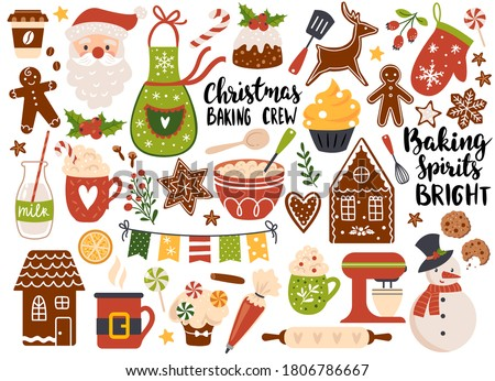 Christmas baking, Set of festive gingerbread cookies and holiday drinks. Vector illustration. Perfect for sticker kit, scrapbooking, greeting card, party invitation, poster, tags #1806786667