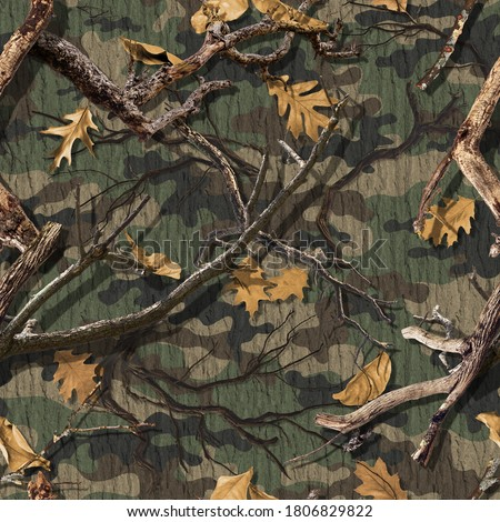 CLASSIC WOODS CAMOUFLAGE SEAMLESS PATTERN Royalty-Free Stock Photo #1806829822