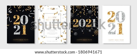 Christmas and New Year posters set with gold and silver confetti and 2021 numbers. Vector illustration. Winter holiday invitations with snowflakes and streamers Royalty-Free Stock Photo #1806941671