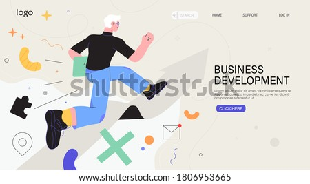 Businessman running on arrow through obstacles to his goal. Business developement, career success or growth and opportunity, startup concept banner, landing web page. Creative trendy character. #1806953665