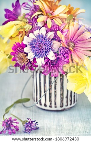 Lovely bunch of flowers. Beautiful fresh flowers on a table. Soft focus.