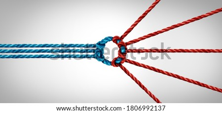 Trust partnership and concept of team partner and unity or teamwork idea as a business metaphor for joining a partnership connected together as a corporate symbol for working cooperation. Royalty-Free Stock Photo #1806992137