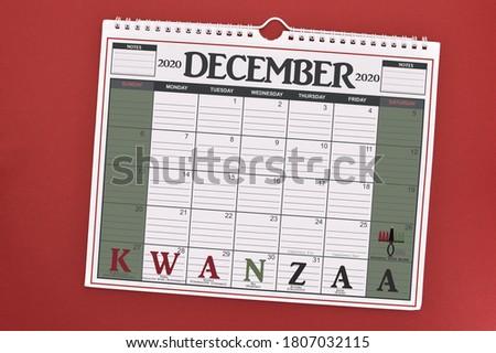 Kwanzaa December 2020 Calendar on red background