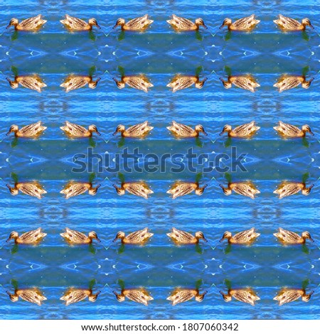 Ducks swim in the blue river. Children's background. Abstract seamless natural drawing for design, background, banner.