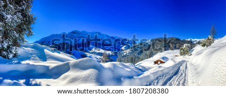 Winter snow mountain cabin panorama. Winter mountain snow panorama. Panoramic landscape winter mountain snow. Snowy winter mountains panorama #1807208380