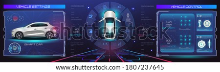 Car service. Holographic digital interface. Dashboard, characteristics, description of the car. Futuristic car interface for website or video games. Realistic car in 3D space holographic in #1807237645