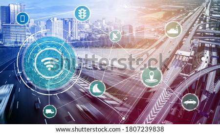 Smart transport technology concept for future car traffic on road . Virtual intelligent system makes digital information analysis to connect data of vehicle on city street . Futuristic innovation . Royalty-Free Stock Photo #1807239838