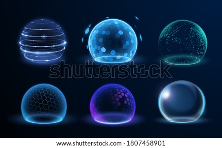 Different energy protection spheres set Royalty-Free Stock Photo #1807458901