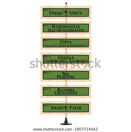 Kwanzaa Seven Principles sign on wood pole white background