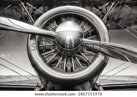 close up of an radial engine of an historical aircraft Royalty-Free Stock Photo #1807551976