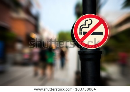 No smoking sign with shopping place background