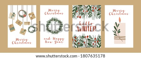 Set of different christmas cards, invitation. Presents in kraft paper, candles and wreaths. Rustic gift box. Eco decoration. Xmas and New 2021 Year celebration preparation. Vector flat cartoon style Royalty-Free Stock Photo #1807635178