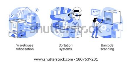 Sorting parcels abstract concept vector illustration set. Warehouse robotization, sortation systems, barcode scanning, forklift, goods storage, conveyor, order processing, QR reader abstract metaphor.