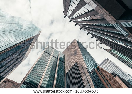 Office buildings tall up to the sky in the financial district in downtown Toronto Ontario Canada. Royalty-Free Stock Photo #1807684693