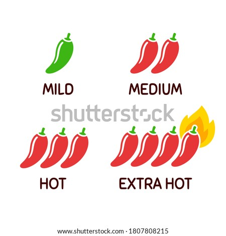 Hot chili peppers icon set. Level of spicy from mild to extra hot with fire flame. Simple and cute cartoon clip art illustration.