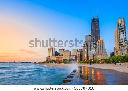 Chicago skyline from North Avenue Beach