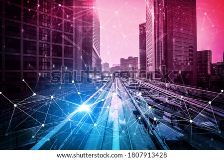 Smart transport technology concept for future car traffic on road . Virtual intelligent system makes digital information analysis to connect data of vehicle on city street . Futuristic innovation . Royalty-Free Stock Photo #1807913428