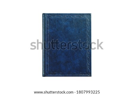 book with cover blue color isolated on white background, top view close-up Royalty-Free Stock Photo #1807993225