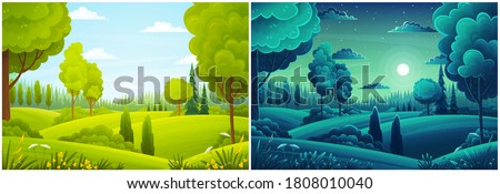 Day and night landscape with hills, forest, fir-trees, view at scenery with clear sky, full moon, summer fields with bushes and plants, nobody, ecological, non-urban, scene of countryside, wild Royalty-Free Stock Photo #1808010040