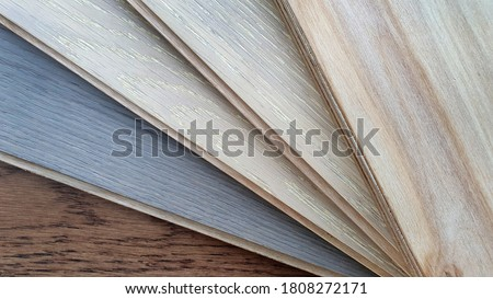 engineer or laminate or veneer wooden flooring click-lock type samples palette contains oak ,maple and ash wood color and pattern. Royalty-Free Stock Photo #1808272171